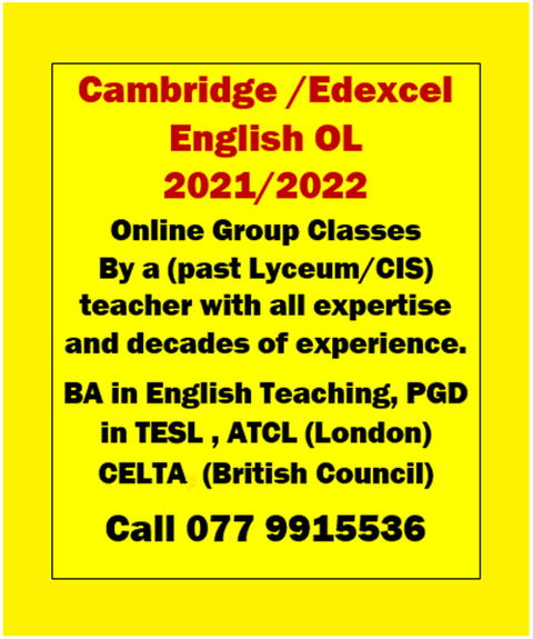 Cambridge and Edexcel O/L English Classes